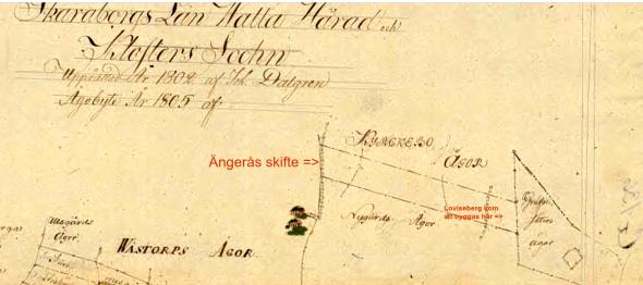 Ängerås ägor Billingeliderna 1805 - klicka på kartan för att se den bättre!