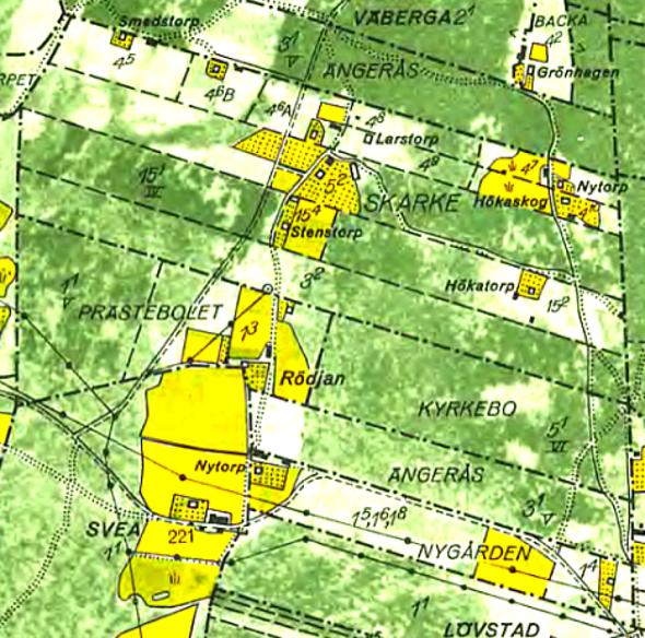 Skarke gårdars skiften 1960 karta