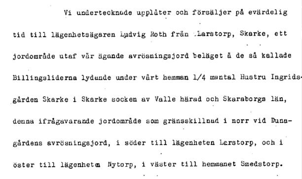 1902 - Ludvig Roth Larstorp köper till mark