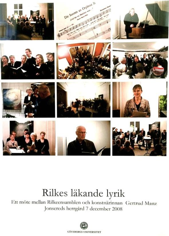 Gertrud till vänster nummer 3 ner från topp läsande de sonetter som inspirerat tavlorna. Fotosammanställning från Rilkeensemblen 2008 tillhandahållen av Getrud Manz 2016