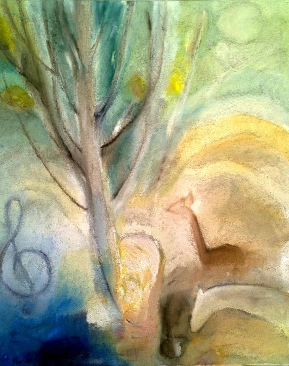 G-klaven, det resliga trädet i örat och djuren; - räven, åsnan, hjortdjuren och kvinnan i profil med guldgult hår. Gertrud vill att man själv skall finna nyckeln till hennes verk - några element med naiva reflektioner kan vara en ledtråd. (Kent Friman)