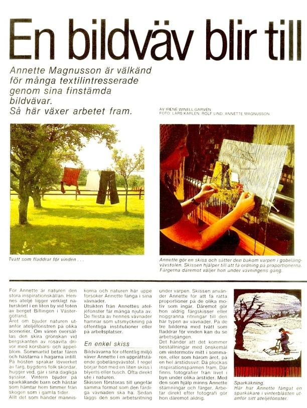"""Klicka på texten för att läsa den bättre! - artikel hämtad från tidningen """"Stora Mode & Handarbetsmagasinet' Nummer 1 hösten 1981"""