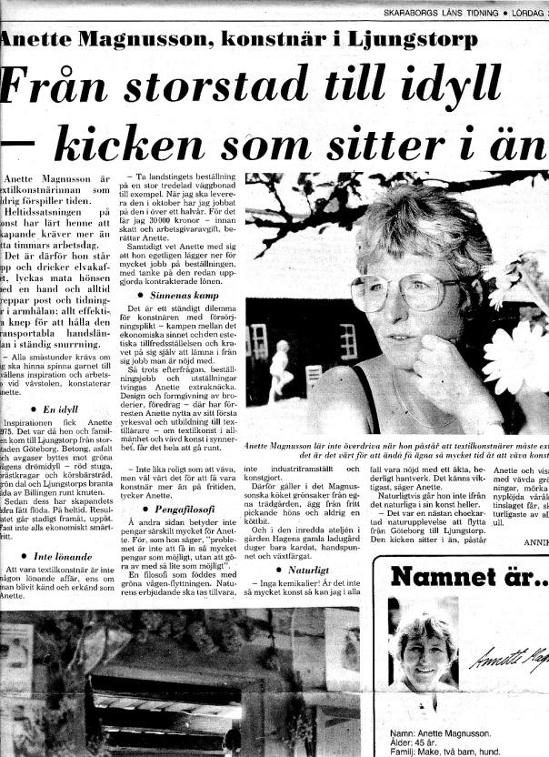 Del av artikel i Skaraborgs läns tidning den 2 juli 1983