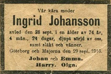 Urklipp från Irma Meyer, 92 år, Skövde - adoptivdotter till Emma Johansson, vid besök i Skövde 2014.