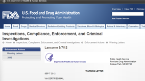 FDA varnar L´Oreal