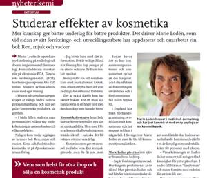 Marie Loden i Kemivärlden Biotech med Kemisk Tidskrift, nr 11, 2013