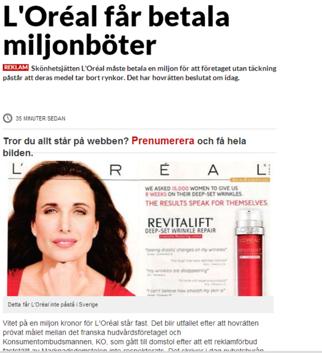 L`Oreal vilseldande marknadsföring. 27 feb 2014.