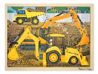 Leksaker - Träpussel grävmaskiner -