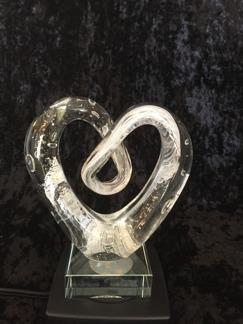 Konstglas hjärta vit -
