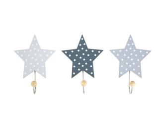 Jabadabado Barninredning förvaringskrokar - stjärnor grå (3-pack) -
