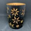Ljuslykta svart plåt snöflingor - stor 14 cm