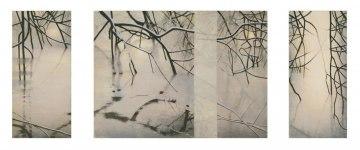 SPEGLING, triptyk, h. 100 cm