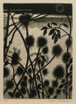 Kardborre,träsnitt,20x15 cm