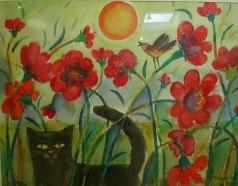 Bland blommor, akvarell, 50x70