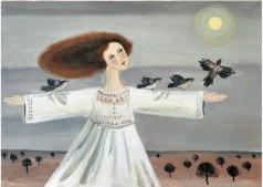 Befriade fåglar, akryl, 45x65