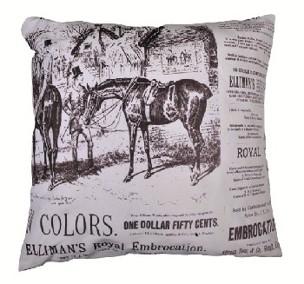 Nostalgikudde -HORSES- ridhäst, 35 x 35cm  - Kudde