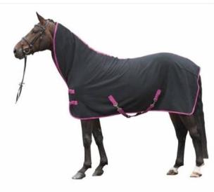 Fleecetäcke med hals - svart med rosa 145