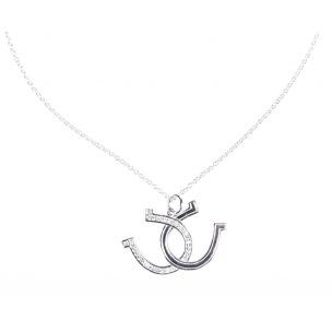 Halsband -Hästsko-dubbel hästsko, silver/svart - Hästskor och kedja