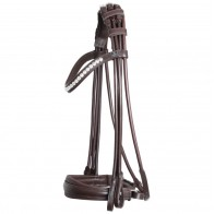 SD® BELISSIMO ROLLED DOUBLE BRIDLE IN BROWN/WHITE