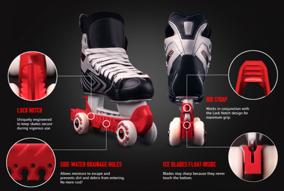 Skridskoskydd med hjul (rollergard) - Röd