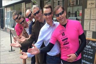 Synoptik sponsrar med sportiga glasögon. Maj 2015 på LeMonde cykelcafé.
