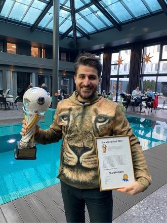 Charbél Gabro vinner Stora Målpriset  2020 och överraskas vid en lunch på Östgöta Kök i Norrköping 15 januari 2021.
