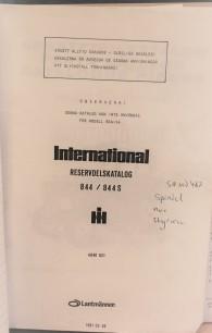 BEG. Reservdelsbok IH 844, 844s