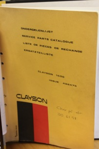BEG. Reservdelsbok Clayson 1530
