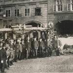 Poslední jízda koňské dráhy přes Karlův most, Křiovnické náměstí 12.5.1905