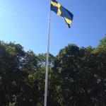 Flaggan i topp för födelsedagsfirande och bröllop