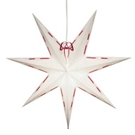 Hängande vit papperstjärna med rött band