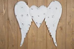 Hjärta med vingar 53x51cm - Vit