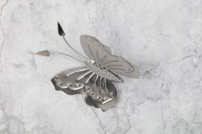 Fjäril i plåt 12x11cm - Silverfjäril