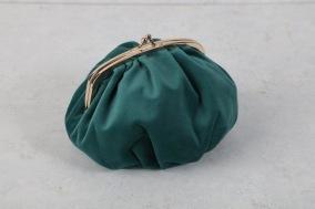 Blå/grön sammetsväska 17x10x6cm - Blå/grön