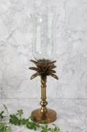 Guld ljusstake med glaskupa H40cm