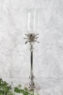 Silver ljusstake med glaskupa H60cm