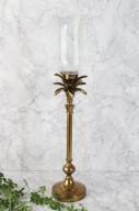 Guld ljusstake med glaskupa H60cm