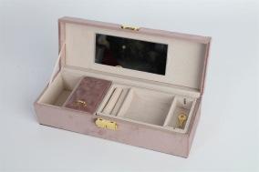 Smyckeskrin i sammet - Rosa smyckeskrin