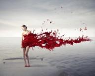 Poster Tjej i röd klänning 21x30cm