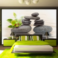 Fototapet - Green orchid and zen stones