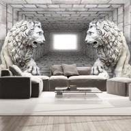 Fototapet - Stone Lions 3D