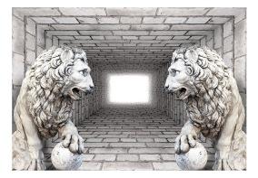Fototapet - Stone Lions 3D - B150xH105cm