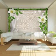 Fototapet - Bamboo, orchids and a zen garden