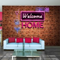Fototapet - Welcome home - pink neon