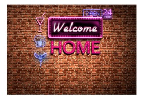 Fototapet - Welcome home - pink neon - B150xH105cm