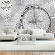Fototapet - Vintage bicycles - black and white