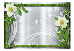 Fototapet - Bamboo and two orchids - B150xH105cm