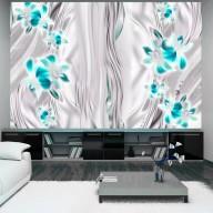 Fototapet - Cyan orchids in platinum