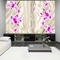 Fototapet - Pink orchid in gold
