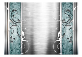 Fototapet - Steel leaves with turquoise - B150xH105cm